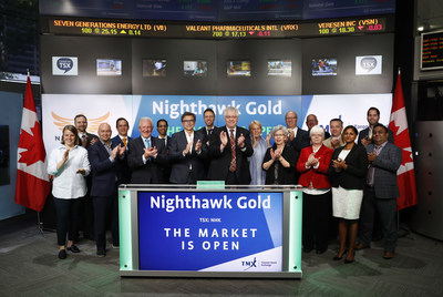 Dr. Michael Byron, President, CEO, Chief Geologist and Director, Nighthawk Gold Corp. (NHK), joined Steven Mills, Regional Head, TSX Company Services, Toronto Stock Exchange & TSX Venture Exchange to open the market. Nighthawk is a Canadian-based gold exploration company with 100% ownership of a district scale land position within the Indin Lake Greenstone Belt, located approximately 200 kilometres north of Yellowknife, Northwest Territories, Canada. Nighthawk Gold Corp. graduated from TSX Venture Exchange, and commenced trading on Toronto Stock Exchange on May 29, 2017. (CNW Group/TMX Group Limited)