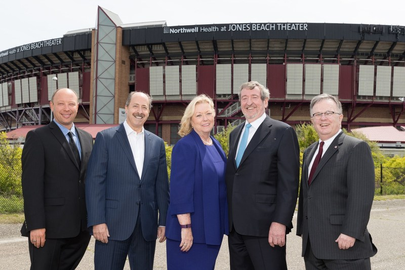 From left are: Adam Citron, GM, Northwell Health at Jones Beach Theater; Andy Peikon, Sr. VP, Venue Sales, Live Nation; Winnie Mack, Sr. VP, Health System Operations, Northwell Health; Northwell President & CEO Michael Dowling; and Wayne R. Horsley, Long Island Regional Director, NYS Office of Parks, Recreation and Historic Preservation