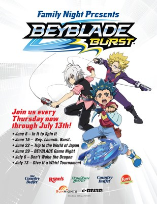 Ovation Brands and Furr's Fresh Buffet are hosting an action-packed Family Night with their newest promotion featuring BEYBLADE BURST. The popular game and anime originated in Japan and is now a worldwide sensation. Starting June 8, the six-week series will feature kid-friendly activities and games from 5-8 p.m. every Thursday.