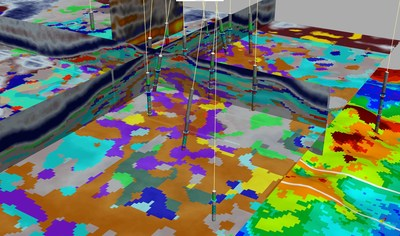 Paradigm's machine Learning-based, rock-type classification uses seismic data and facies logs to predict facies volumes and their probability of occurrence, to improve reservoir characterization