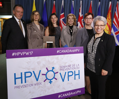 Leading healthcare providers, patient organizations and Members of Parliament gathered today on Parliament Hill to mark the announcement that Canada has become the first country in the world to declare a HPV Prevention Week, which will be held from October 1-7, 2017.  (From left to right): The Honourable Peter Kent, Member of Parliament for Thornhill; Dr. Jennifer Blake, Chief Executive Officer, Society of Obstetricians and Gynecologists of Canada; Michelle, Patient with cervical cancer, and HPV-related cancer; Dr. Vivien Brown, Past National President, Federation of Medical Women of Canada; Dr. Monique Bertrand, Past President, Society of Canadian Colposcopists; and Brigitte Sansoucy, Member of Parliament for Saint-Hyacinthe-Bagot. (CNW Group/Federation of Medical Women of Canada (FMWC))