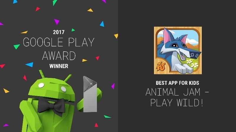 """Animal Jam – Play Wild! Wins """"Best App for Kids"""" at the Google Play Awards."""