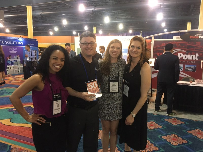 Aquiire Head of Strategic Solutions Tulsi Zeidman accepts the 2017 50 Providers to Watch Award from the Spend Matters Team at the 2017 ISM Annual Conference