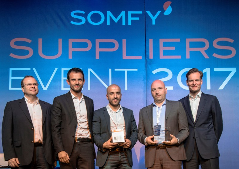 Silicon Labs Receives Somfy Supplier Innovation Award. From left to right, Bruno Stragliati, Somfy Corporate Purchasing Director; Marc Westermann, Somfy Connected Solutions Activity Director; Nassim Yakhou, Sales Manager for France & Benelux, Silicon Labs; Anders Pettersson, Senior Marketing Manager, IoT Products, Silicon Labs; and Jean Guillaume Despature, Chairman of the Board & CEO of Somfy Group.
