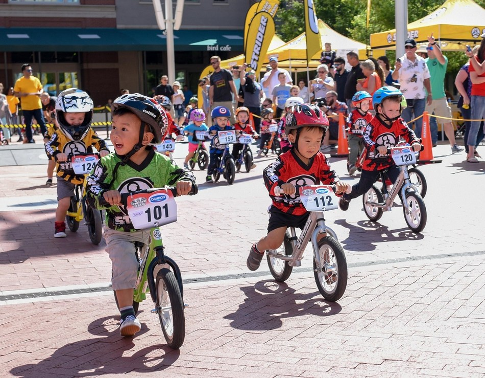 Speedy 2-year-old Strider Balance Bike racer Roman Martinez (#101) of Sugar Land, TX, won his class at the Strider Cup Race in Fort Worth.