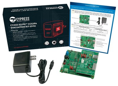 Pictured is the Cypress CY4532 CCG3PA USB-C Evaluation Kit.