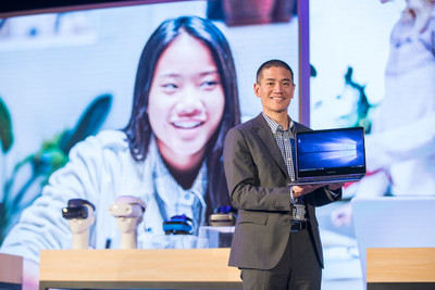 Peter Han VP Partner Devices and Solutions at Microsoft shows the Samsung Notebook 9 Pro publicly for the first time during Microsoft's Computex 2017 keynote