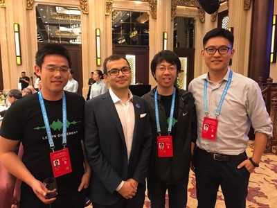 From left to right: Dr. Yi Sun, Demis Hassabis, Dr. Hui Lin, Dr. Yi Wang