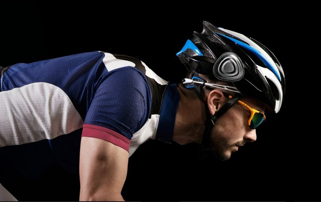 Ahead wearable attached to bicycle helmet.