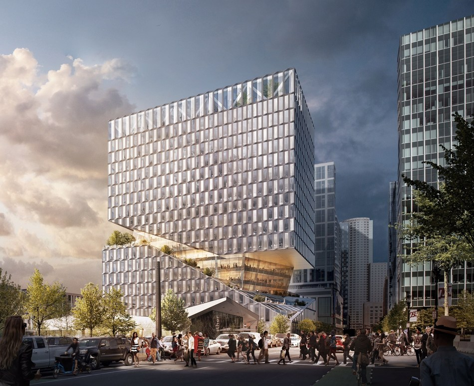 Rendering of 88 Seaport Boulevard, a mixed-use retail and office project designed by OMA and developed by WS Development in Boston's Seaport neighborhood