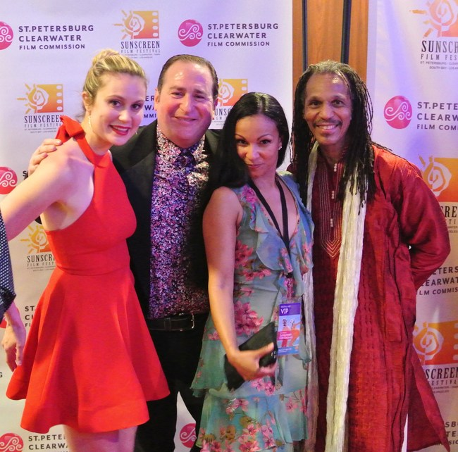 "Stars of ""Paying Mr. McGetty"" at the Gulf Coast Red Carpet Premiere: Alissa Schneider, ""The Gold Man"" Mark Richard Goldman, Anita Clay and Tayari Casel"