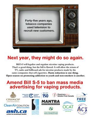 Health groups' advertisement published in today's Hill Times (page 5) (CNW Group/Coalition québécoise pour le contrôle du tabac)