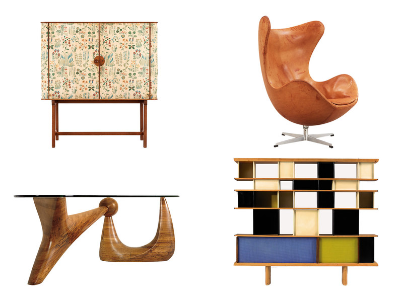The Barnebys.com report on vintage furniture design at auction features (clockwise from top left): Mahogany cabinet with floral chintz fabric 'Fatima' by Josef Frank of Sweden, circa 1937 (sold for $39,000); 'Egg chair' by Arne Jacobsen of Denmark for Fritz Hansen 1963 (sold for $5,584); 'Bibliotheque Maison du Mexique' by Charlotte Perriand of France, 1953 (sold for $314,557); and& 'The Goodyear Table',  for A. Conger Goodyear, by Isamu Noguchi in the United States, 1939 (sold for $4.5 million).