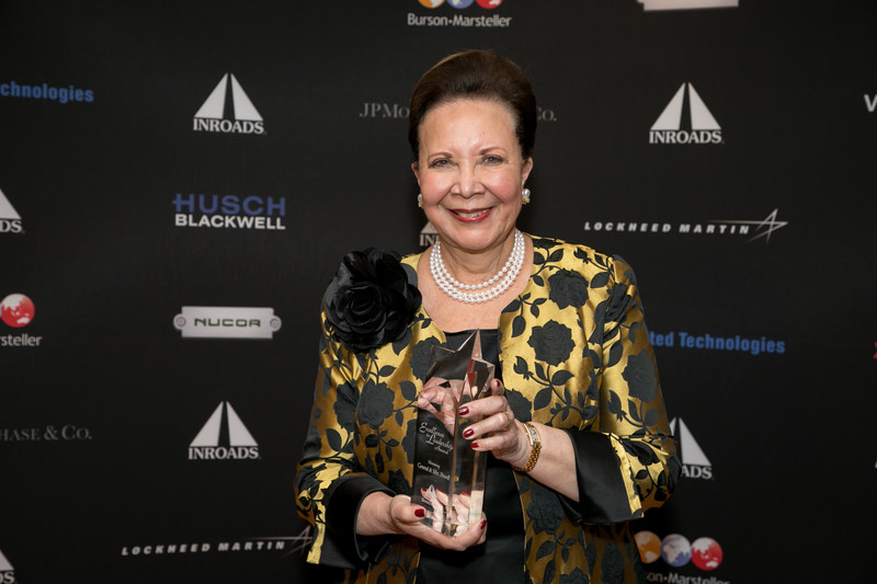 General Colin Powell, U.S.A. (Ret.) and Mrs. Alma Powell, founding chair and chair, respectively, of America's Promise Alliance, recently received the INROADS Excellence in Leadership Award. Alma Powell pictured receiving award.