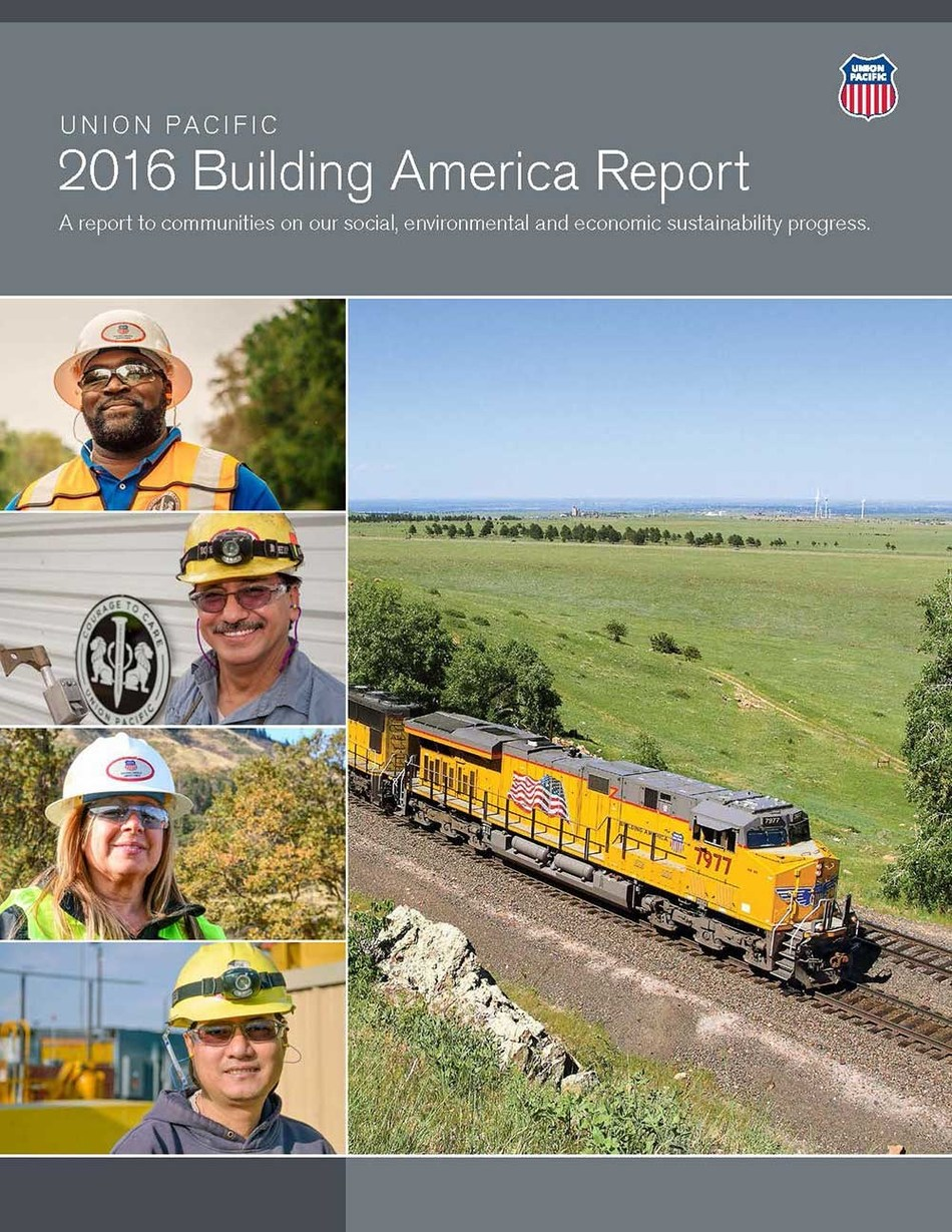 The 2016 Building America Report is Union Pacific's eighth annual sustainability report. Union Pacific connects 23 states in the western two-thirds of the country by rail and is committed to delivering America's goods in a safe, reliable and environmentally responsible manner.