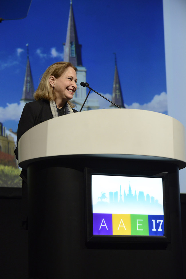 AAE 2016-2017 President Dr. Linda G. Levin addresses AAE17 attendees at the President's Breakfast.