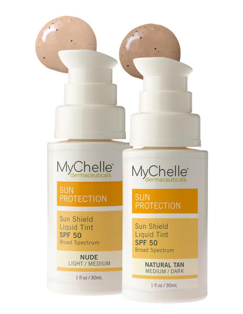 MyChelle Sun Shield Liquid Tint SPF 50 ($22.50 / 1.0 fl. oz.) is a softly tinted, 100% Zinc Oxide-based sunscreen for maximum UVA/UVB broad-spectrum protection. The silky formula blends weightlessly, matching your skin tone and giving skin a fresh, healthy glow.  Incredibly sheer, it can be worn alone for a natural look or used as a primer under foundation or mineral powder to create a beautiful, smooth, matte finish. This oil-free product is recommended for all skin types.