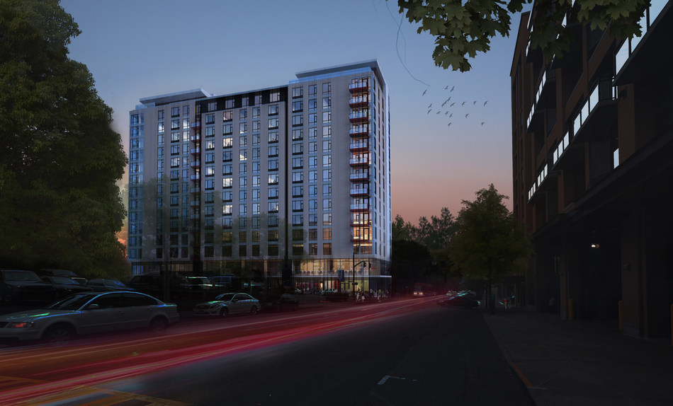 Sky 3 apartments in downtown Portland, Oregon is a new 15-story mixed use development offering 196 units, innovative amenities for active lifestyles, shared social spaces and 14,500 SF of ground floor retail space.