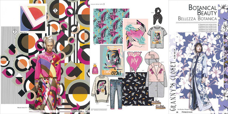 Key design concepts with patterns and prints. Style and Colours are represented with flourishing colours exclusively from Design Info.