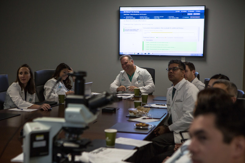 The tumor board at Jupiter Medical Center in Florida reviews new cancer cases and treatment options with the help of Watson for Oncology