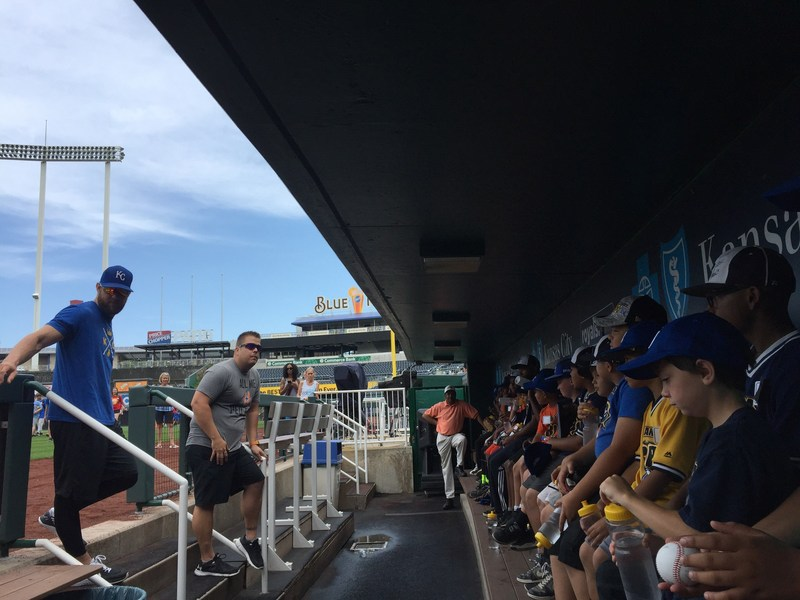 Royals outfielder Alex Gordon with youth from RBI (Reviving Baseball in Inner Cities) and YMCA of Kansas City, at Kaufman Stadium, at the P.L.A.Y. clinic and Home Run for Health program, powered by Sun Life Financial.