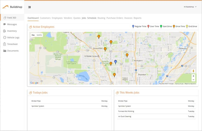 For field service professionals, Buildshop offers affordable software for service companies of all types with features including dispatch, invoice, inventory, documents, photos, timesheet, vehicle tracking, mapping and more.
