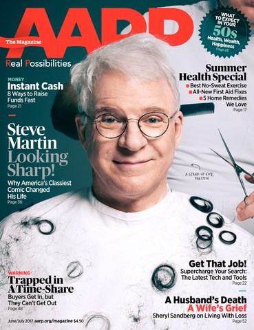 Steve Martin on the Cover of AARP The Magazine June/July Issue