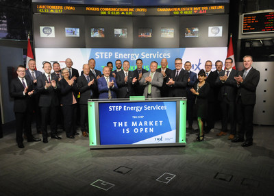 Regan Davis, President and Chief Executive Officer, STEP Energy Services Ltd. (STEP), joined Rob Peterman, Vice-President, Global Business Development, TMX Group, to open the market. STEP is a technically focused oilfield service company with its corporate headquarters located in Calgary, Alberta, and has coiled tubing and fracturing operations spanning across Western Canada, along with coiled tubing operations in Texas and Louisiana. STEP Energy Services Ltd. commenced trading on Toronto Stock Exchange on May 2, 2017. (CNW Group/TMX Group Limited)