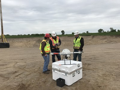 Microdrones training pilot Bradley Booth teaches Frontier Precision's Jack Wilcox and customer to use a Microdrones mdMapper1000 UAS as part of the mdAcademy training program. Frontier Precision completed aerial mapping and inspection training as well as education on effectively training new users.