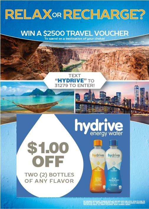 """HYDRIVE ENERGY WATER ANNOUNCES """"RELAX OR RECHARGE"""" DESTINATION CONTEST - Contestants Can Enter to Win their Dream Vacation"""