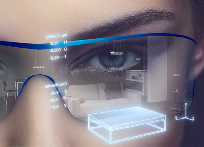 Enabling augmented reality glasses to display exactly the right information at the right time: Thanks to the tiny SFH 4055 infrared LED, eye-tracking systems can also be fitted to headsets to establish the line of sight.