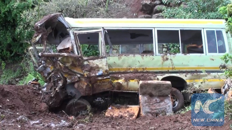 Pictured above is what is left of the bus after the horrific accident in Tanzania killing 33 children and 3 adults.