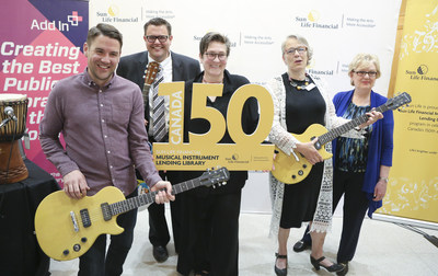 Councillor Evan Woolley and Grammy and Juno Award-winning artist k.d lang help to kick-off the Sun Life Financial Musical Instrument Lending Library program in Calgary with Paul McIntrye Royston, Janet Hutchinson and Jennifer M McIntosh. (CNW Group/Sun Life Financial Inc.)