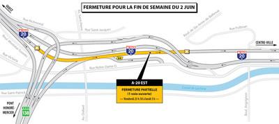 Fermeture partielle A-20 échangeur Montréal-Ouest (Groupe CNW/Ministère des Transports, de la Mobilité durable et de l'Électrification des transports)