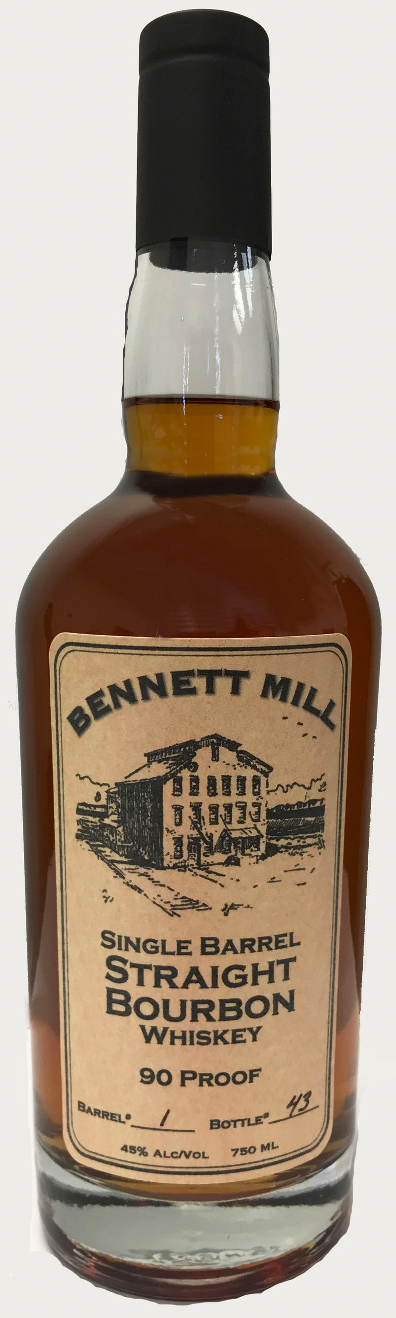 Bottle shot of Bennett Mill Single Barrel Straight Bourbon