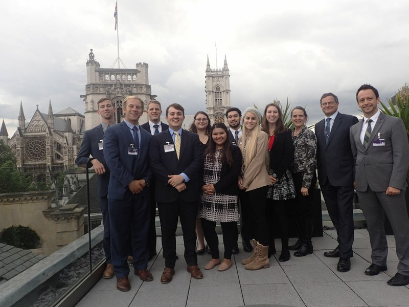 Students from Coastal Carolina University's E. Craig Wall Sr. College of Business, recently visited the London headquarters of the Royal Institute of Chartered Surveyors (RICS). Pictured with the students and faculty advisors is Peter Bolton King FRICS, the Institution's Global Property Standards Director and the current Chairman of the International Ethics Standards Coalition.