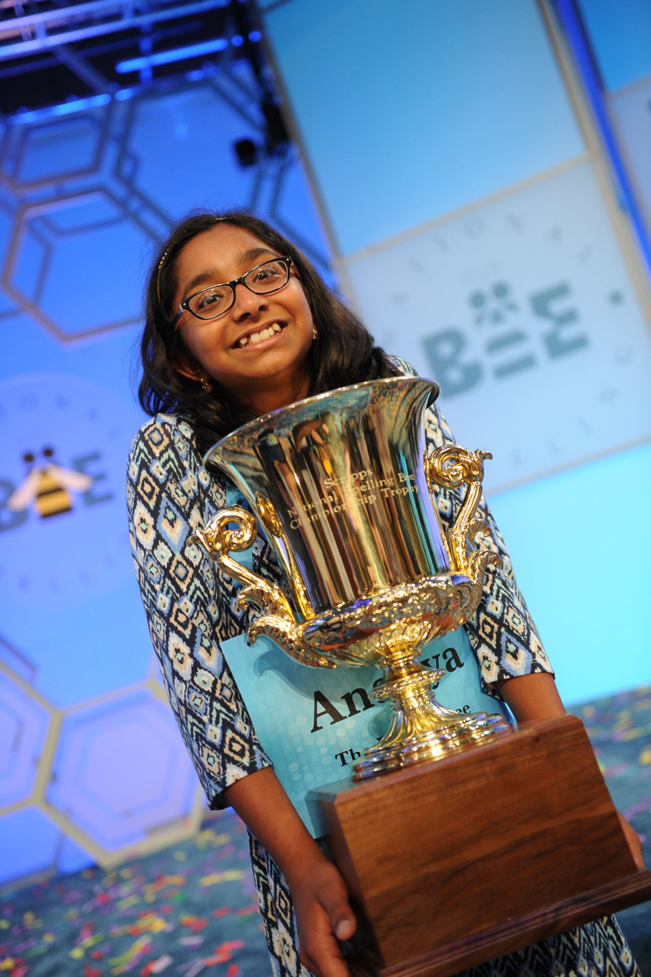 Ananya Vinay, a 12-year-old speller from Fresno, California, is champion of the 2017 Scripps National Spelling Bee, presented by Kindle. Credit: Mark Bowen / Scripps National Spelling Bee