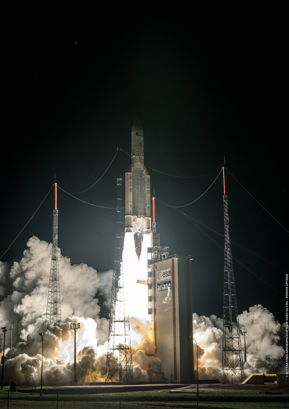 ViaSat Inc. announced the successful launch of its ViaSat-2 satellite aboard an Arianespace Ariane 5 ECA launch vehicle. The Ariane 5 ECA carrying ViaSat-2 lifted off yesterday, June 1 at 4:45 pm PDT from the Guiana Space Center, located in Kourou, French Guiana. (PRNewsfoto/ViaSat, Inc.)