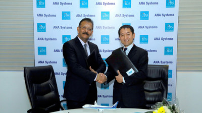 Masafumi Shingo, President - ANA Systems and V K Mathews, Executive Chairman - IBS Software signed the deal (PRNewsfoto/IBS Software Services)