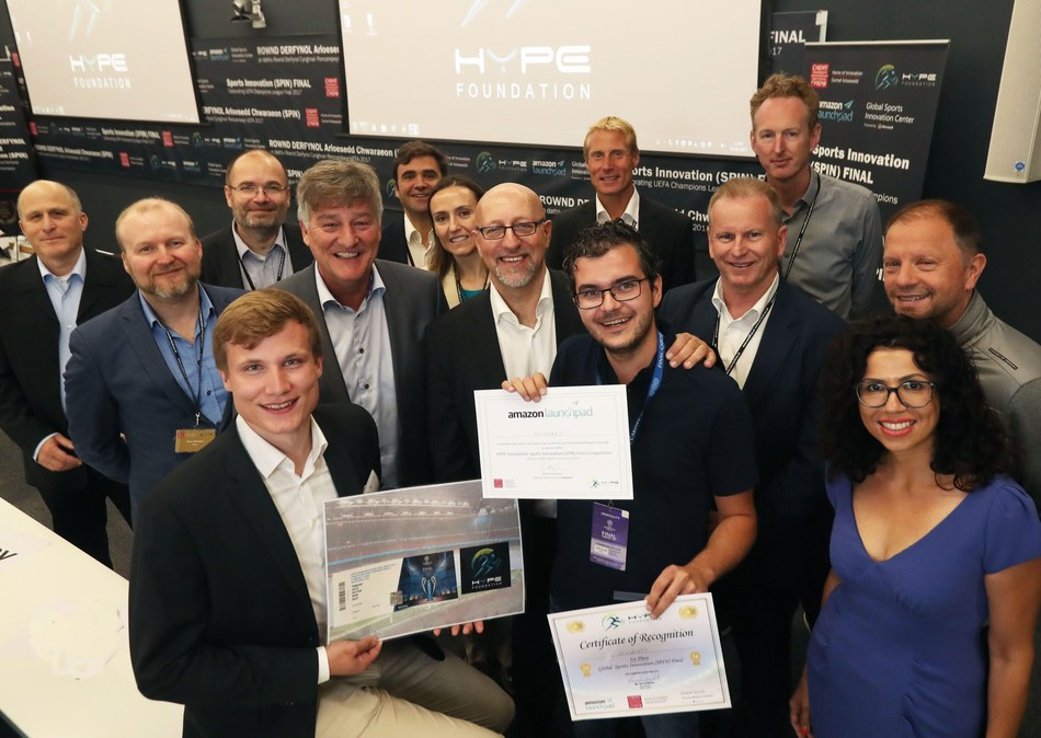 The SPIN Final Jury members and partners are announcing SciSports as the winner. (Photo taken by: Michael Hall)