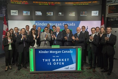 Kinder Morgan Canada Opens the Market - Ian Anderson, President, Kinder Morgan Canada Limited (KML), joined Nick Thadaney, President and CEO, Global Equity Capital Markets, TMX Group, to open the market. Kinder Morgan Canada Limited owns an interest in or operates an integrated network of pipeline systems and terminal facilities in Canada.  KML's specific assets include the Trans Mountain pipeline, the Canadian portion of the Cochin pipeline, the Puget Sound and Trans Mountain Jet Fuel pipelines, the Westridge marine and Vancouver Wharves terminals in British Columbia as well as various crude oil loading facilities in Edmonton, Alberta. KML commenced trading on Toronto Stock Exchange on May 30, 2017. (CNW Group/TSX Group Inc.)