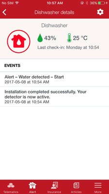 Alert water detection program - screen shot. (CNW Group/State Farm Mutual Automobile Insurance Co.)