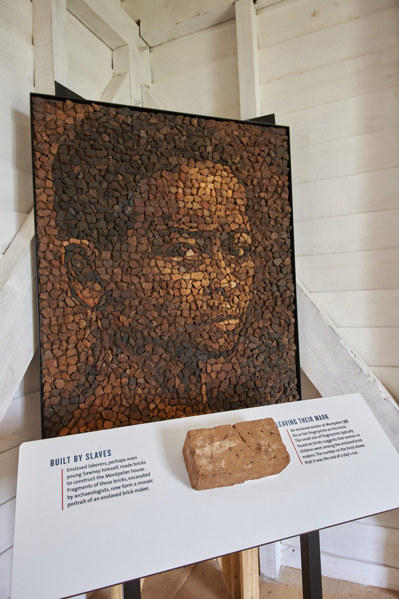 The Mere Distinction of Colour exhibition connects slavery in the Founding Era to today – one display inside a reconstructed slave dwelling includes a mosaic depicting an African-American child composed of bricks, which were handmade by enslaved children. The collective bricks were discovered during archaeological excavations of Montpelier's South Yard.