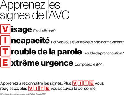 VITE est un moyen simple de se souvenir des principaux signes de l'AVC (Groupe CNW/Fondation des maladies du cœur et de l'AVC)