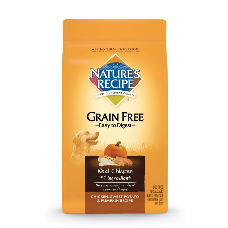Nature's Recipe® Grain Free Easy to Digest Chicken, Sweet Potato & Pumpkin Recipe.