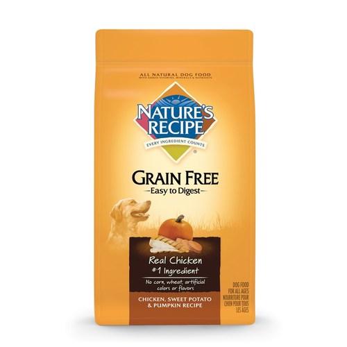 Nature's Recipe® Grain Free Easy to Digest Chicken, Sweet Potato & Pumpkin Recipe.
