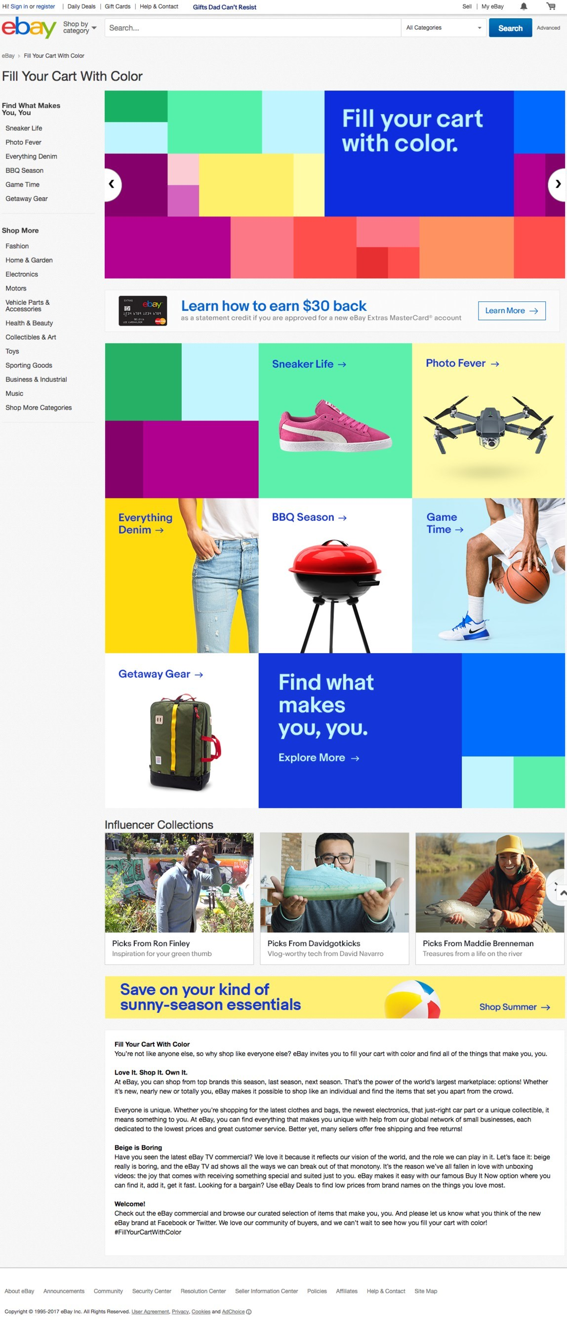 "eBay launches a new brand platform ""Fill Your Cart with Color"" http://www.ebay.com/fill-your-cart-with-color"
