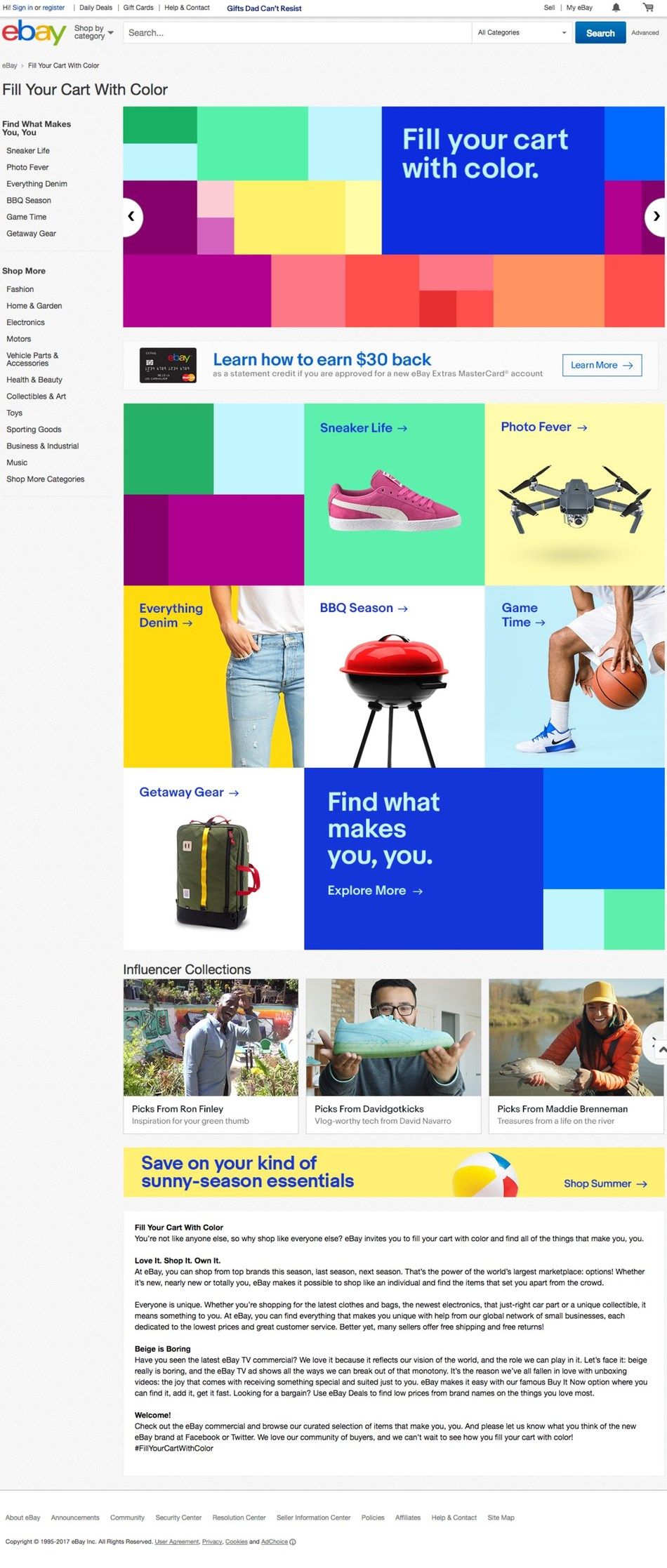 """eBay launches a new brand platform """"Fill Your Cart with Color"""" http://www.ebay.com/fill-your-cart-with-color"""