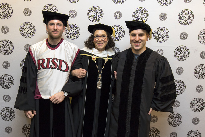 RISD President Rosanne Somerson with Airbnb co-founders and RISD alumni Brian Chesky (right) and Joe Gebbia (left). Chesky and Gebbia both received honorary Doctor of Fine Arts degrees at RISD's 2017 Commencement ceremony, where Chesky addressed the graduating class. Photo: Scott Indermaur