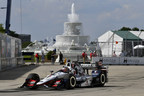 Graham Rahal led a Honda 1-2-3 sweep in Saturday's opening race of the IndyCar Series doubleheader race weekend in Detroit.